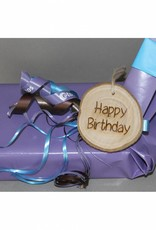 "Houten cadeau-label - ""Happy birthday"""
