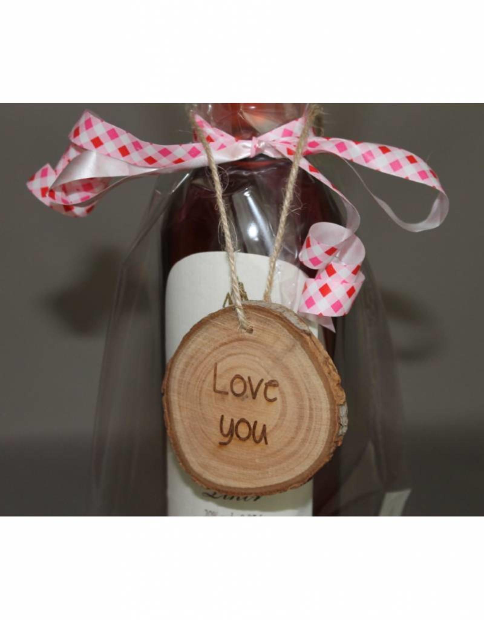 "Houten cadeau-label - ""Love you"""