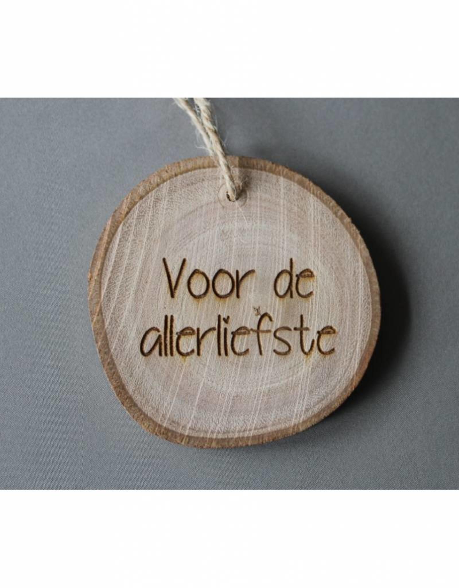 """Houten cadeau-label - """"Voor de allerliefste"""""""