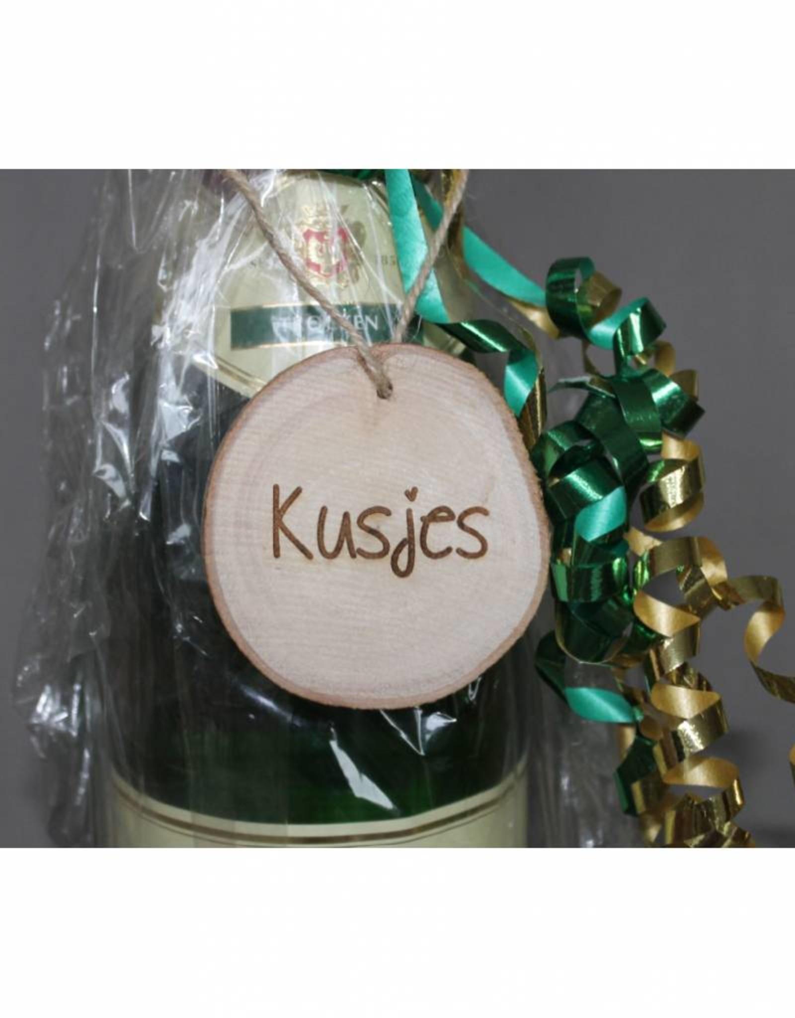 """Houten cadeau-label - """"Kusjes"""""""