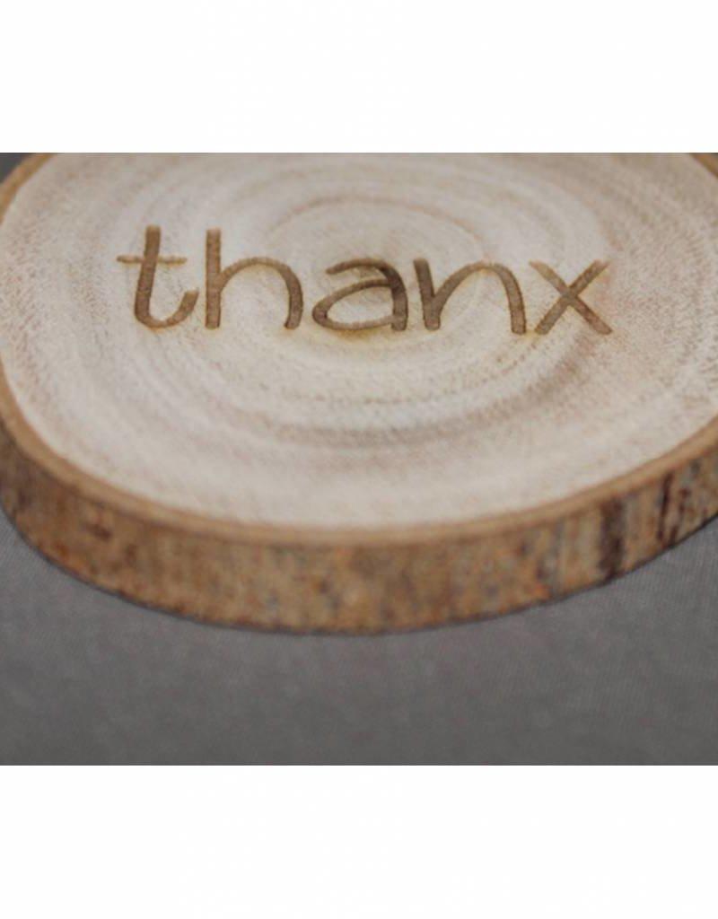 "Houten cadeau-label - ""thanx"""