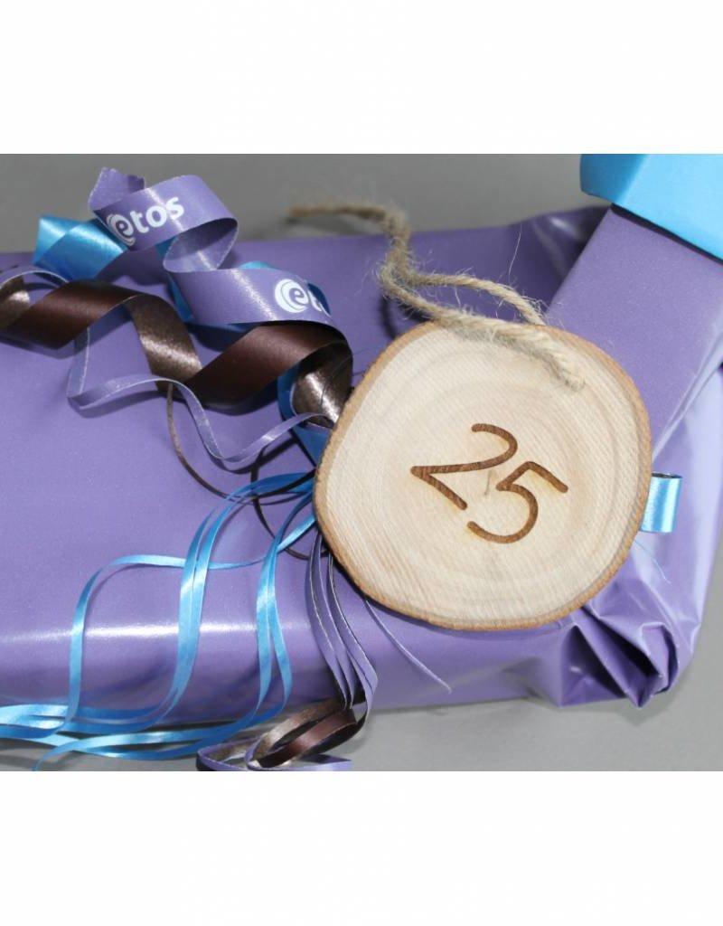 """Houten cadeau-label - """"25"""""""