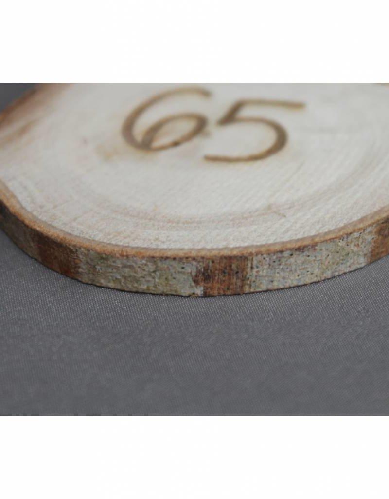 """Houten cadeau-label - """"65"""""""