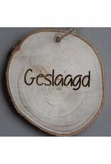 """Houten cadeau-label - """"Geslaagd"""""""