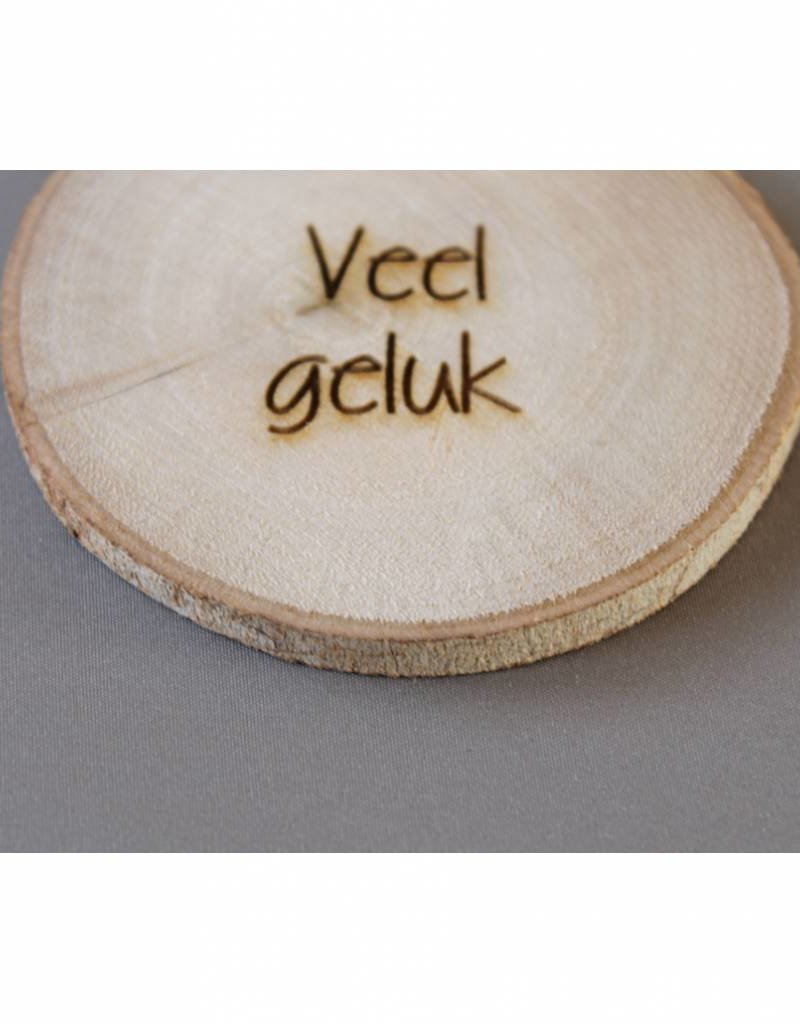 """Houten cadeau-label - """"Veel geluk"""""""