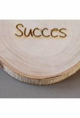 """Houten cadeau-label - """"Succes"""""""
