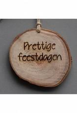 """Houten cadeau-label - """"Prettige feestdagen"""""""