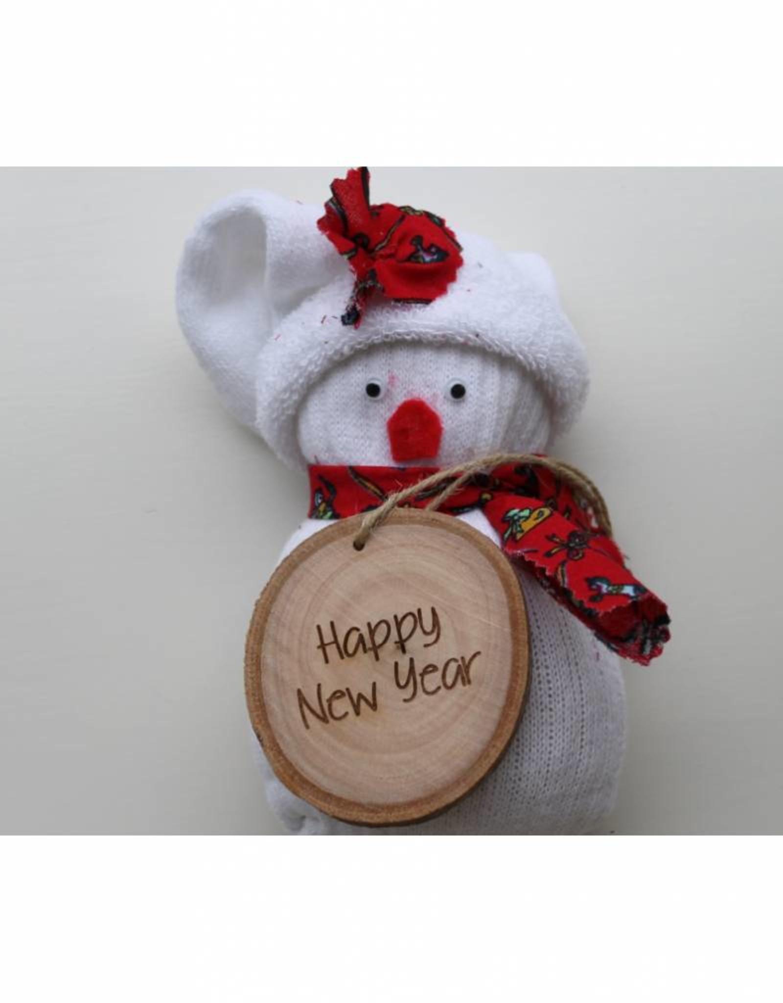 """Houten cadeau-label - """"Happy New Year"""""""