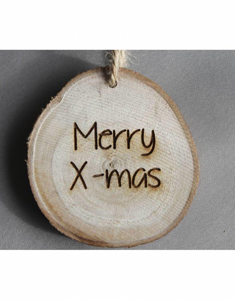 "Houten cadeau-label - ""Merry X-mas"""