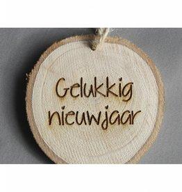 """Houten cadeau-label - """"Gelukkig nieuwjaar"""""""