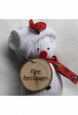 """Houten cadeau-label - """"Fijne feestdagen"""""""