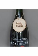 "Houten cadeau-label - ""Happy holidays"""