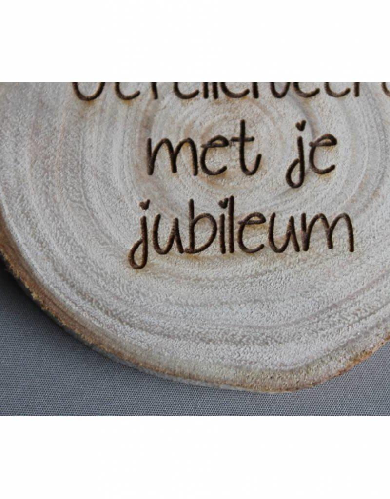 """Houten cadeau-label - """"Gefeliciteerd met je jubileum"""""""