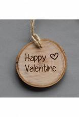 """Houten cadeau-label - """"Happy Valentine"""""""