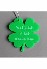 """Cadeau-label Klavertje Vier - """"Veel geluk in het nieuwe huis"""""""