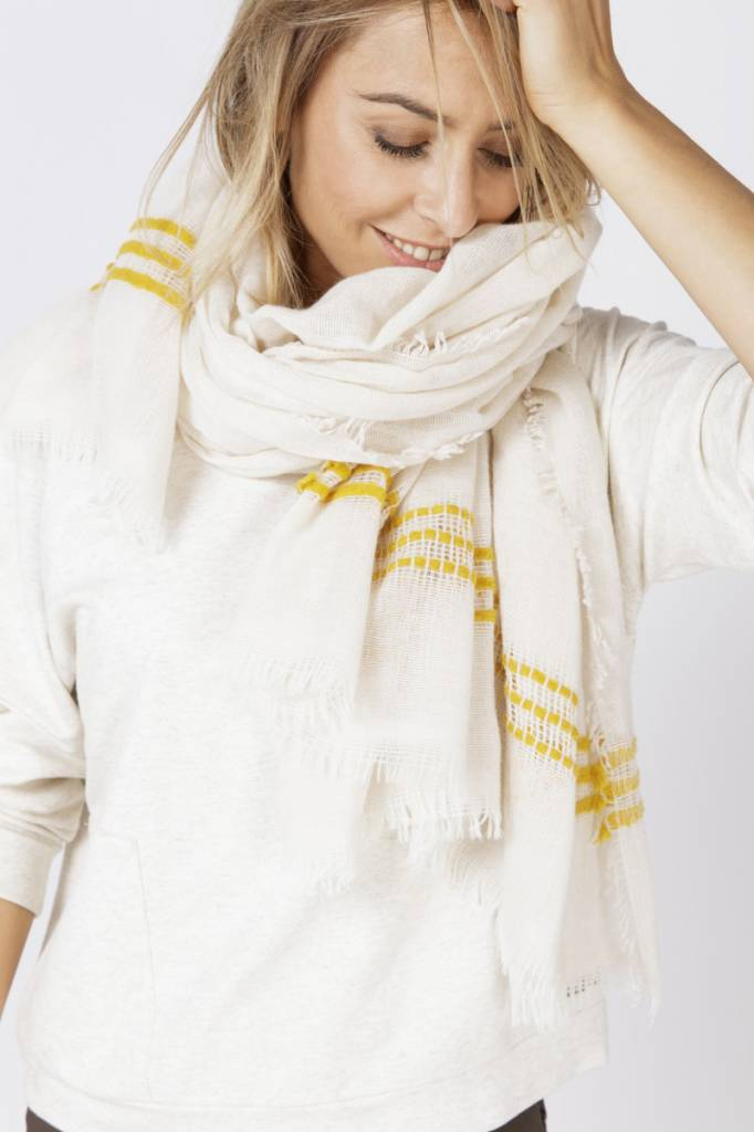 Moscow Scarf Striped Wool - White