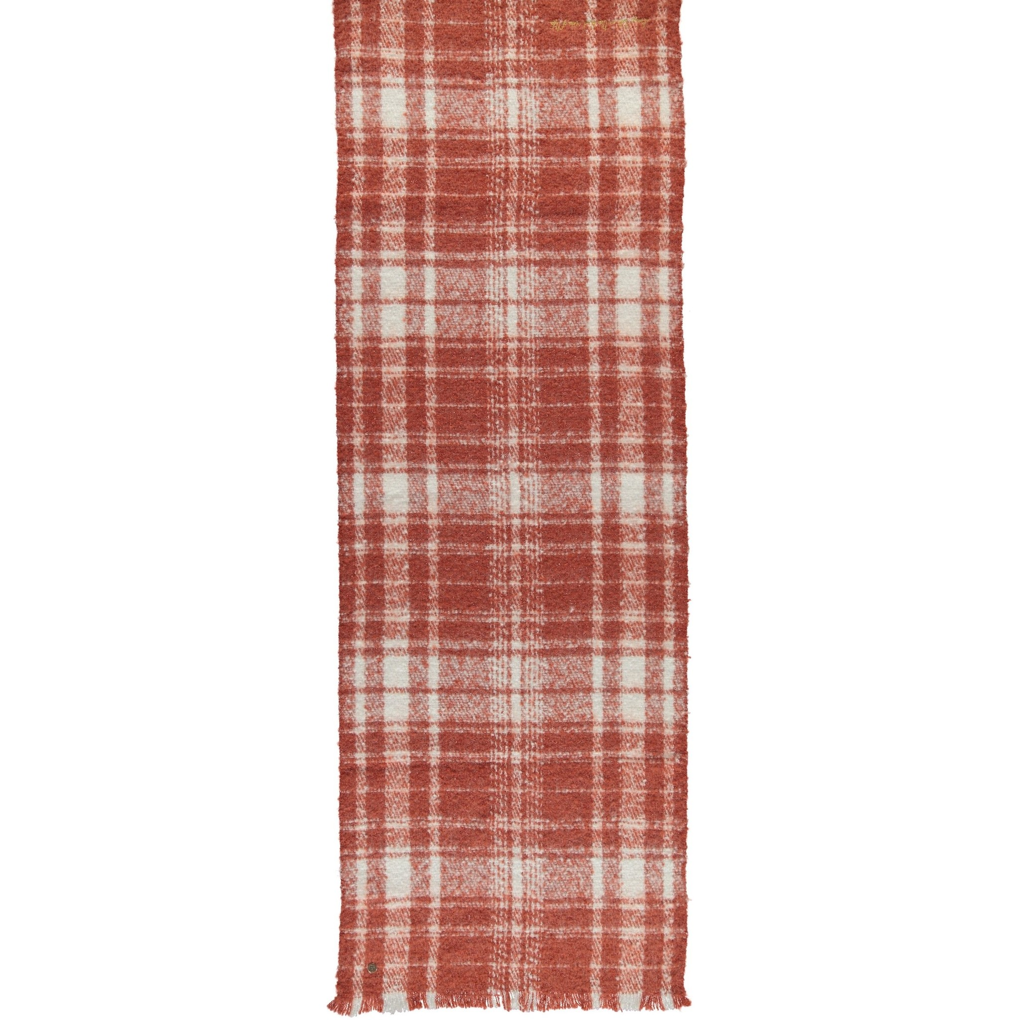 Birds on the Run Check Woven Scarf - Rust