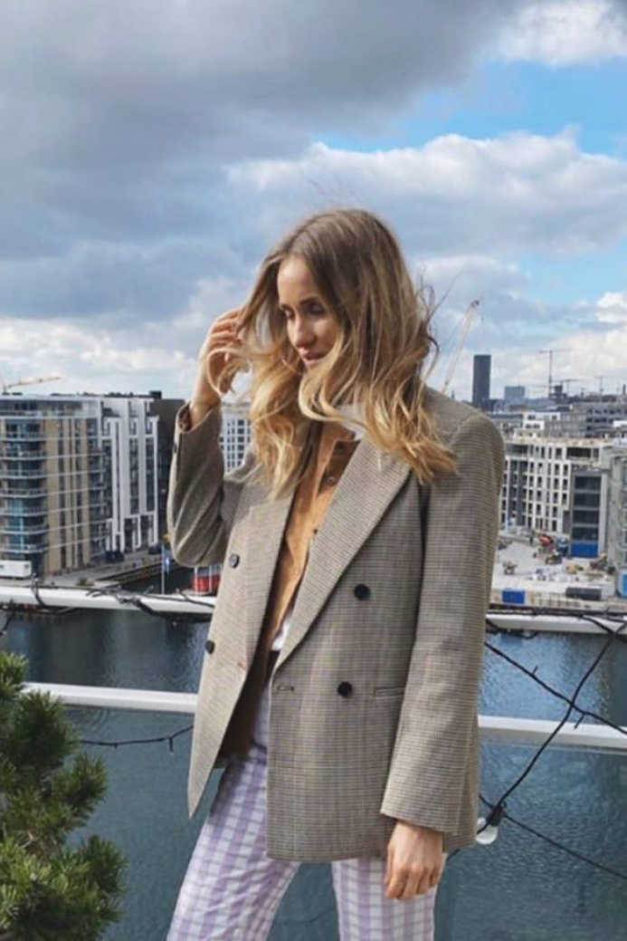 Co Couture Oversize check blazer - Cognac