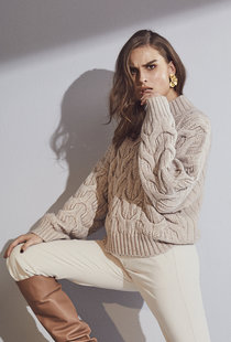 Co Couture Jenesse Cable Knit - Bone