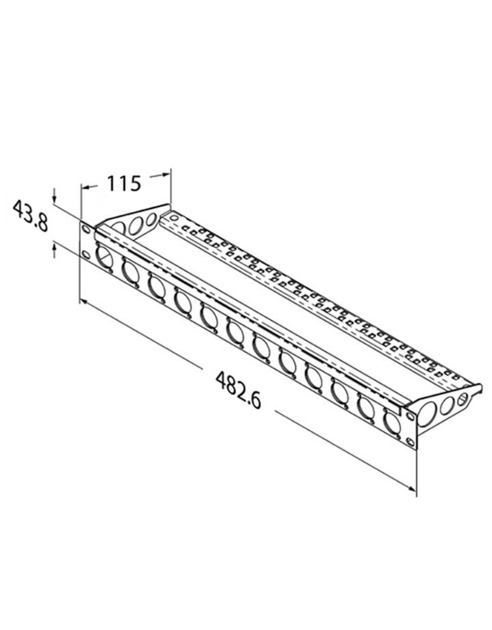 Penn Elcom Penn Elcom frontplaat, 12 gaten Neutrik D, voor MDLX-serie, staal, 1 HE, met kabelsupport