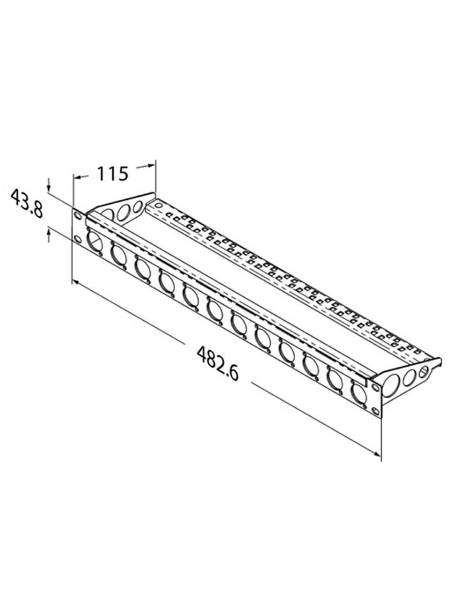Penn Elcom Penn Elcom frontplaat, 16 gaten Neutrik D, voor MDLX-serie, staal, 1 HE, met kabelsupport