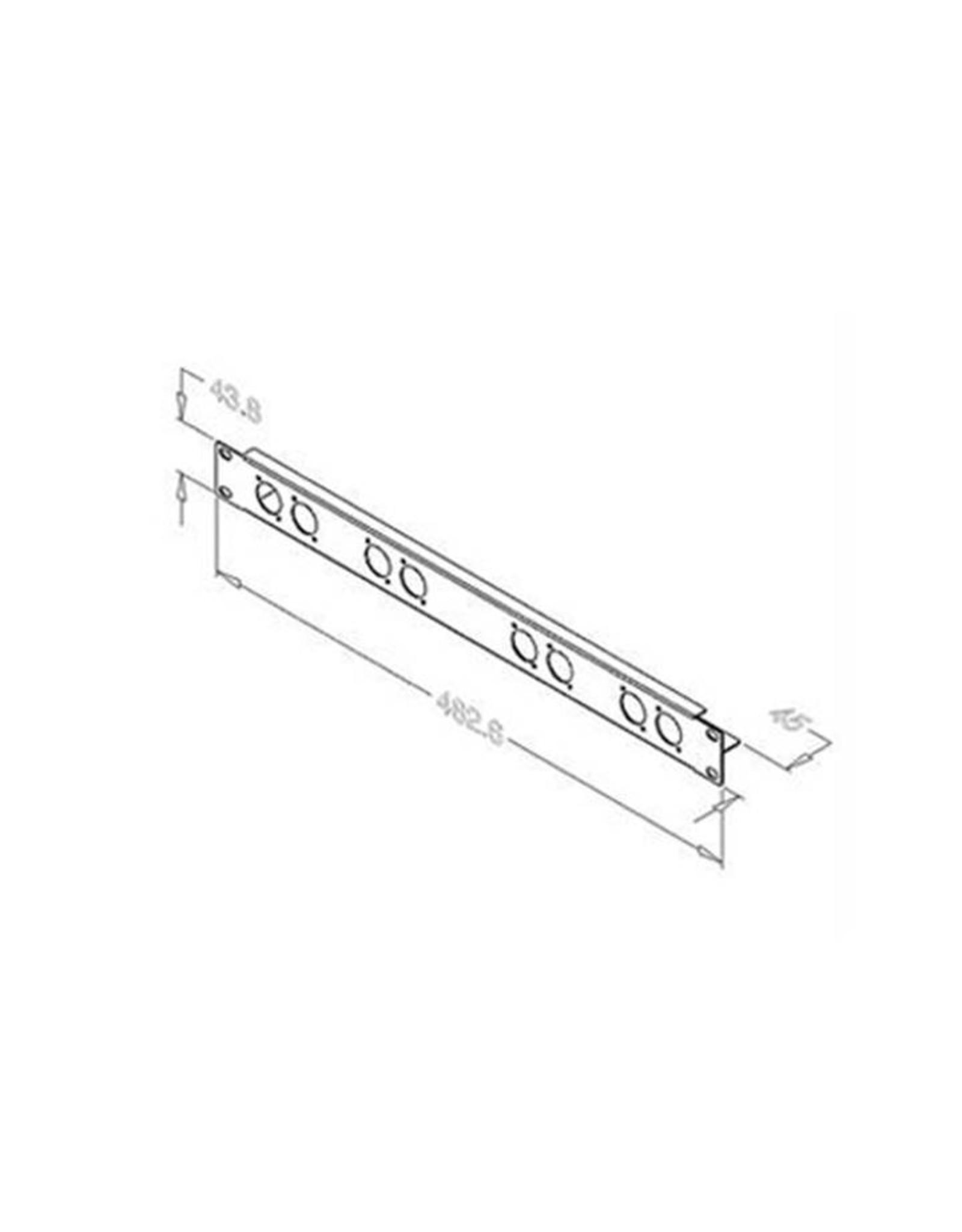 Penn Elcom Penn Elcom frontplaat, 8 gaten Neutrik D, 1 HE, staal + kabelbevestiging