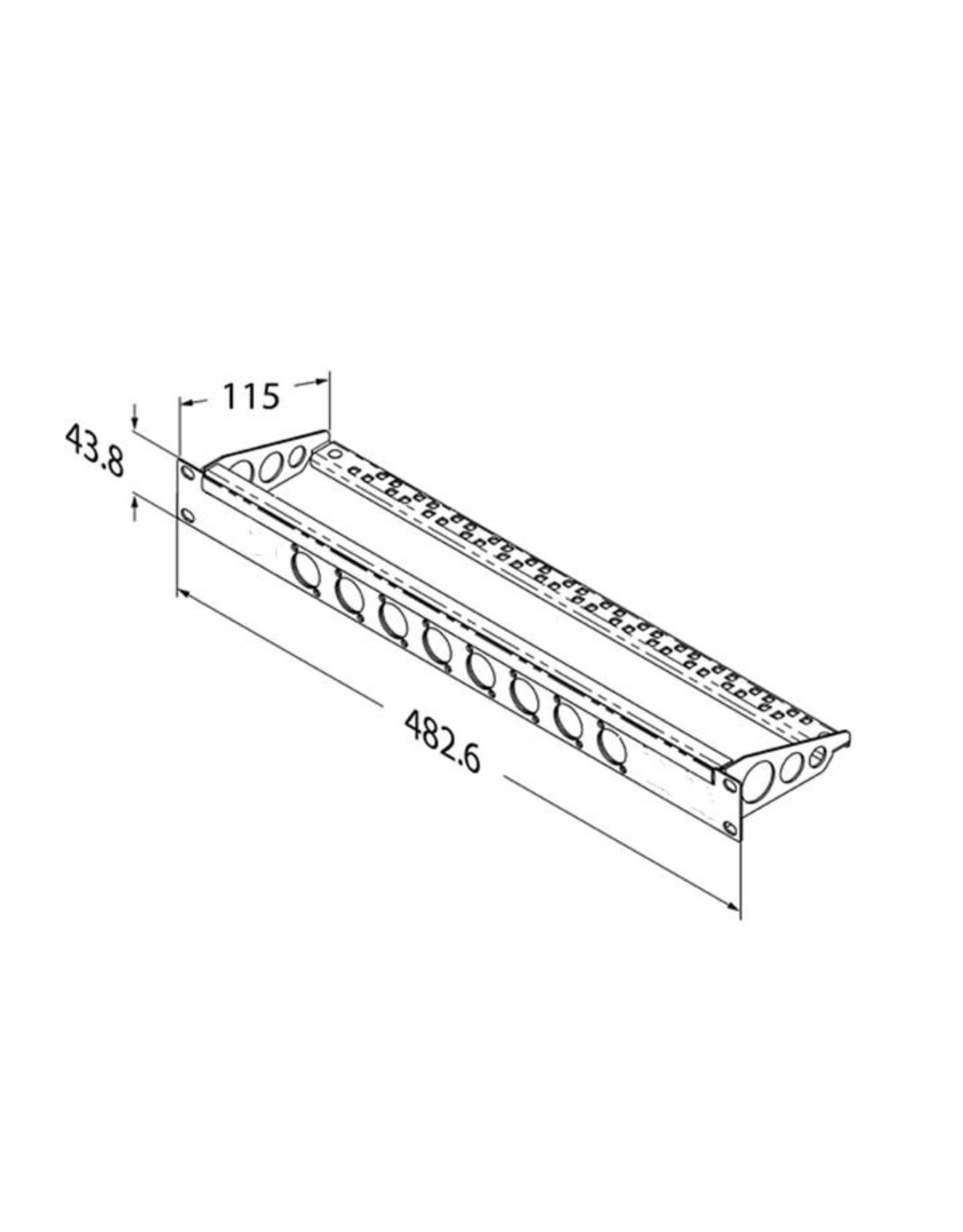 Penn Elcom Penn Elcom frontplaat, 8 gaten Neutrik D, voor MDLX-serie, staal, 1 HE, met kabelsupport