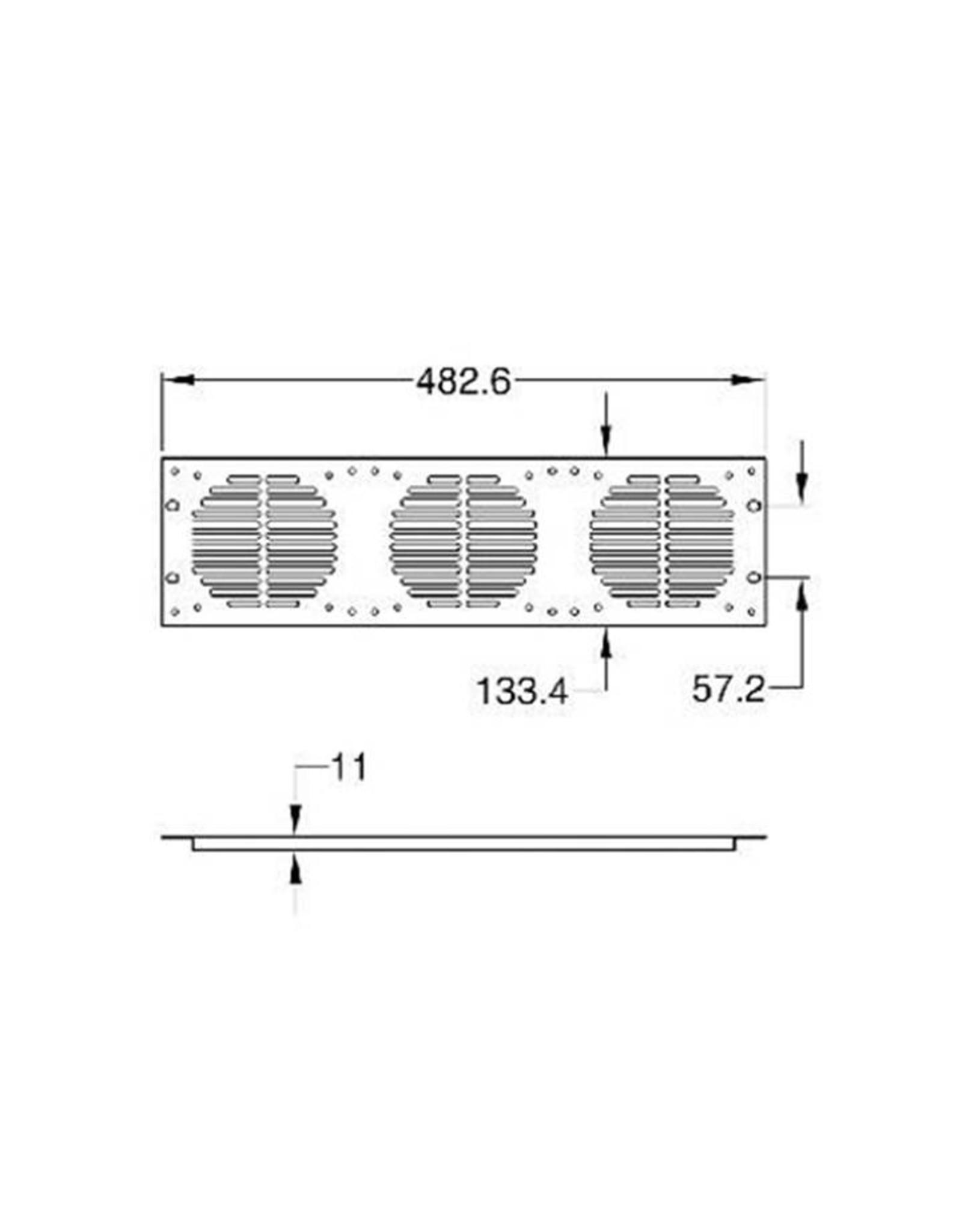 Penn Elcom Penn Elcom frontplaat 3 HE, 3 gaten fan 120 x 120 mm (RG-6339)