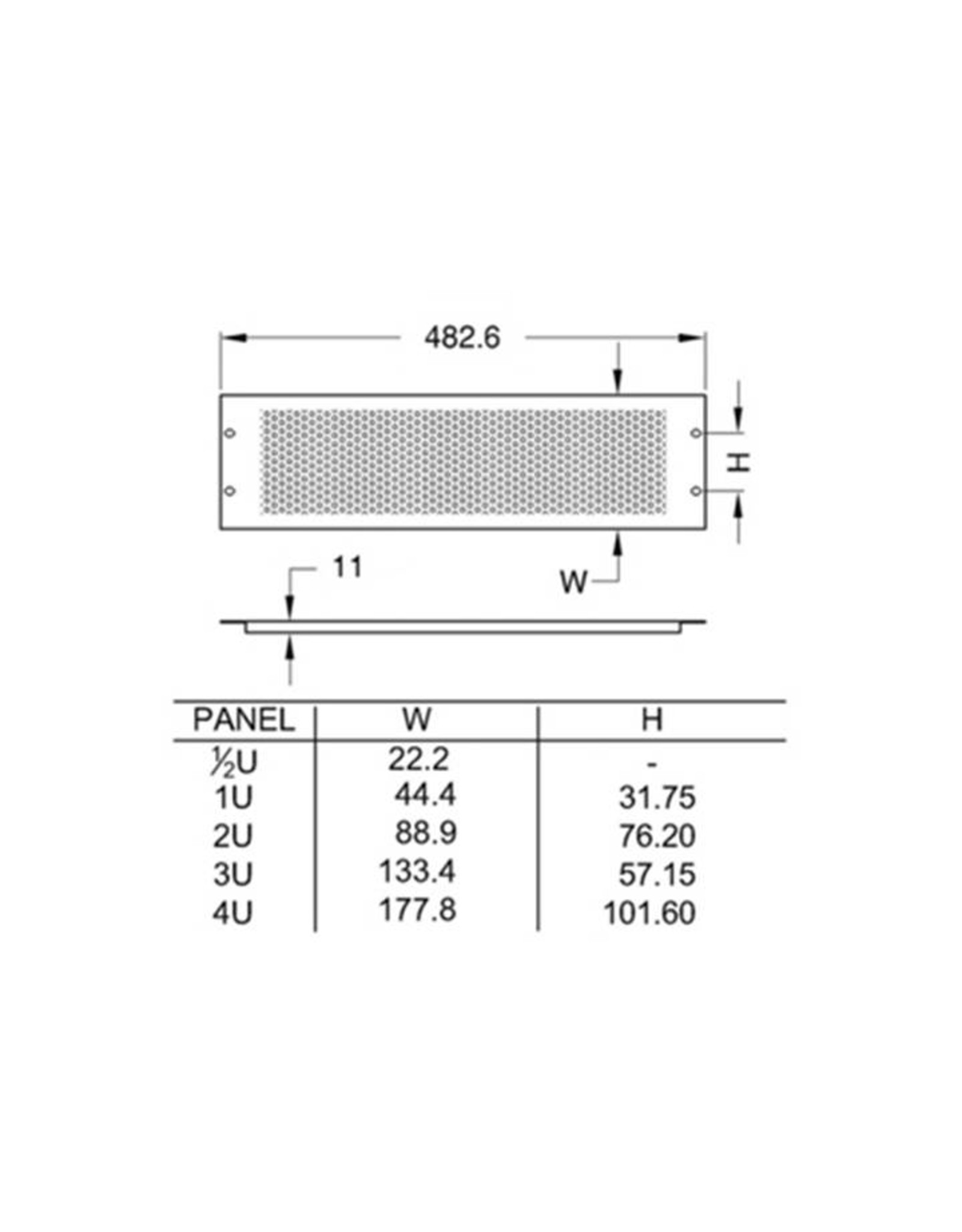Penn Elcom Penn Elcom frontplaat, staal, ventilatie, omgezet, 1 HE