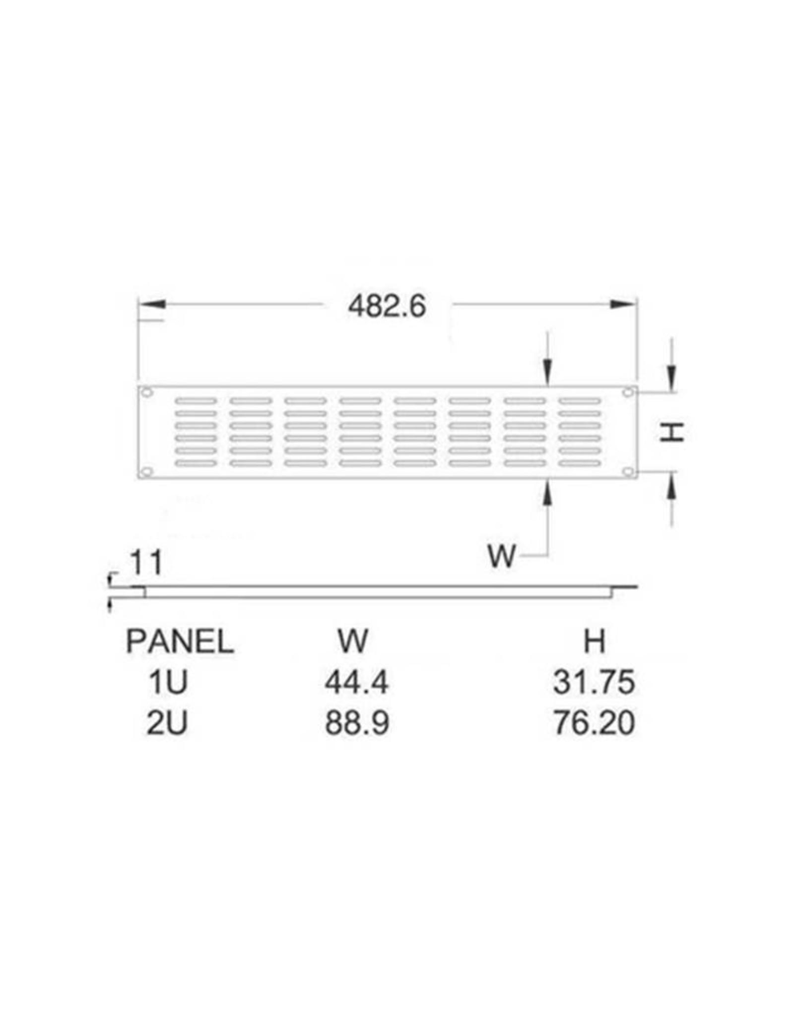 Penn Elcom Penn Elcom frontplaat, ventilatie (8 x 5 gaten), omgezet, 2 HE