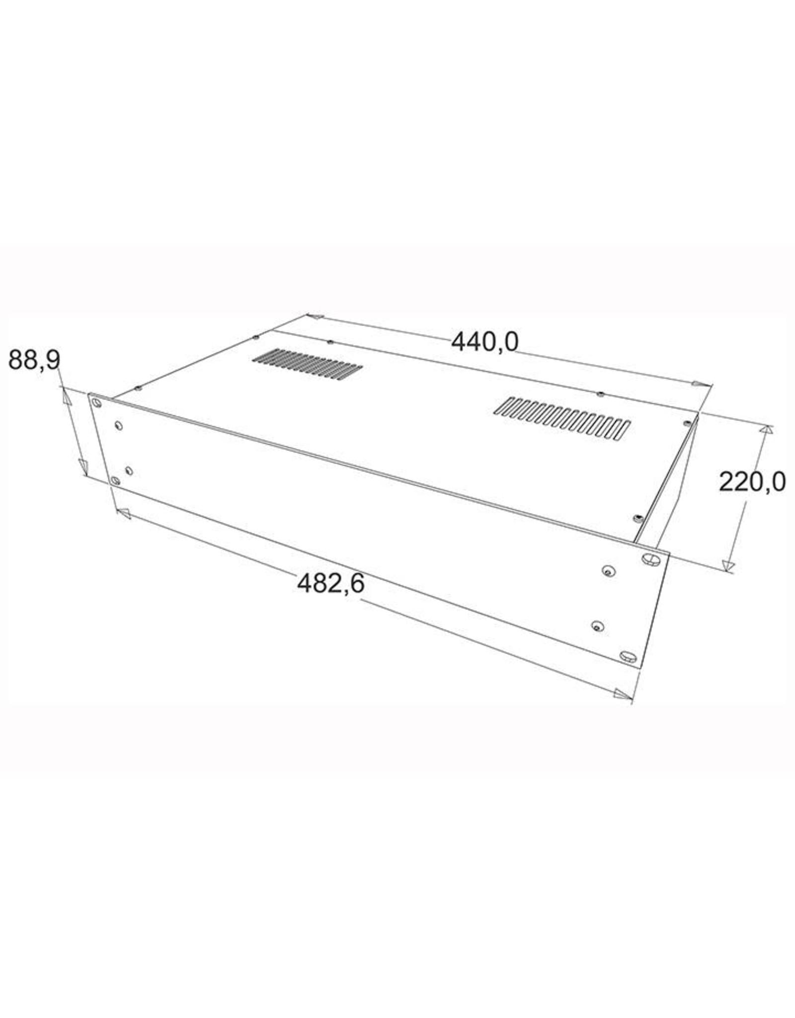 Penn Elcom Penn Elcom 19 inch kast + frontplaat, 2 HE, 220 mm diep