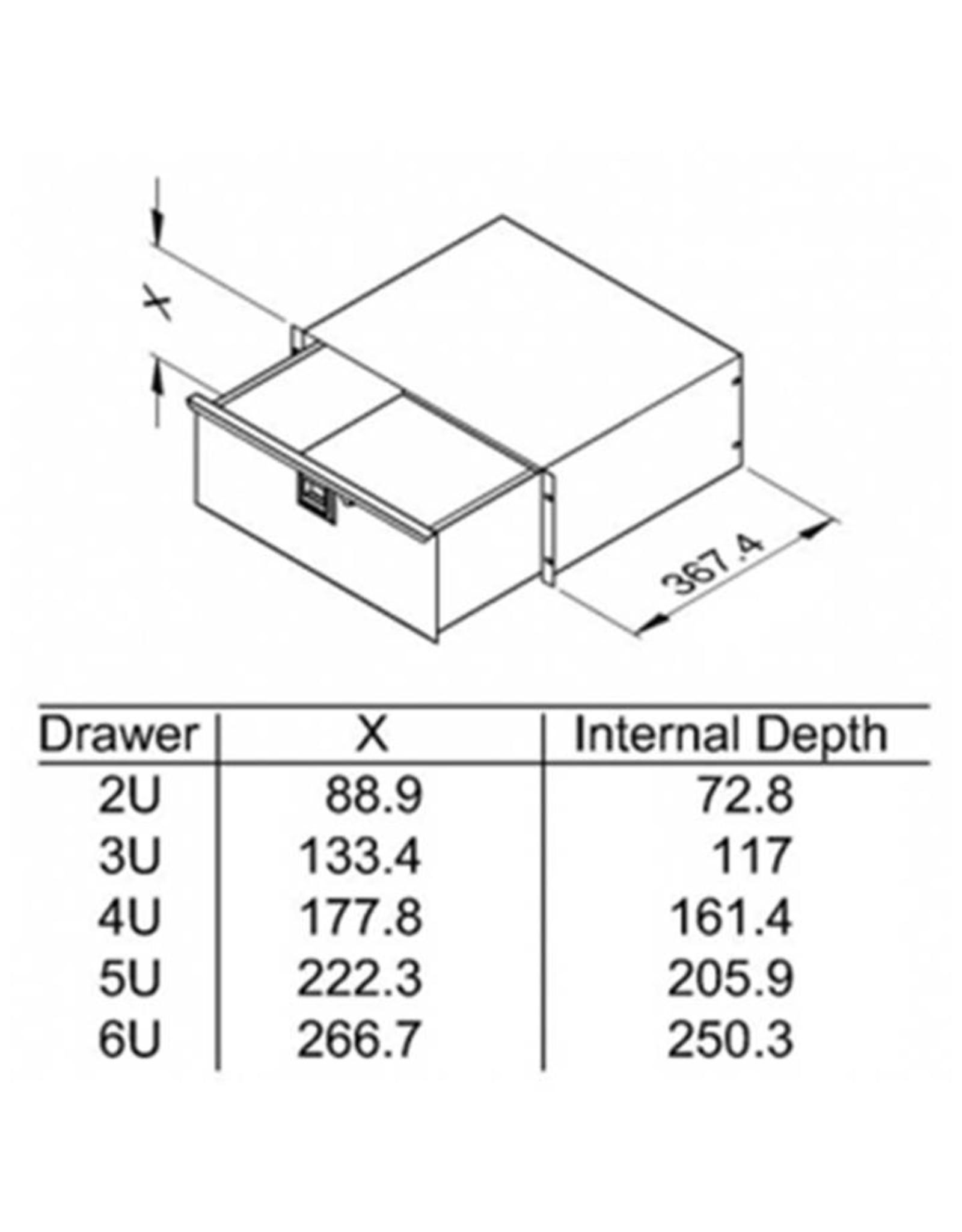 Penn Elcom Penn Elcom ladekast met slot, 367 mm diep, staal, 3 HE