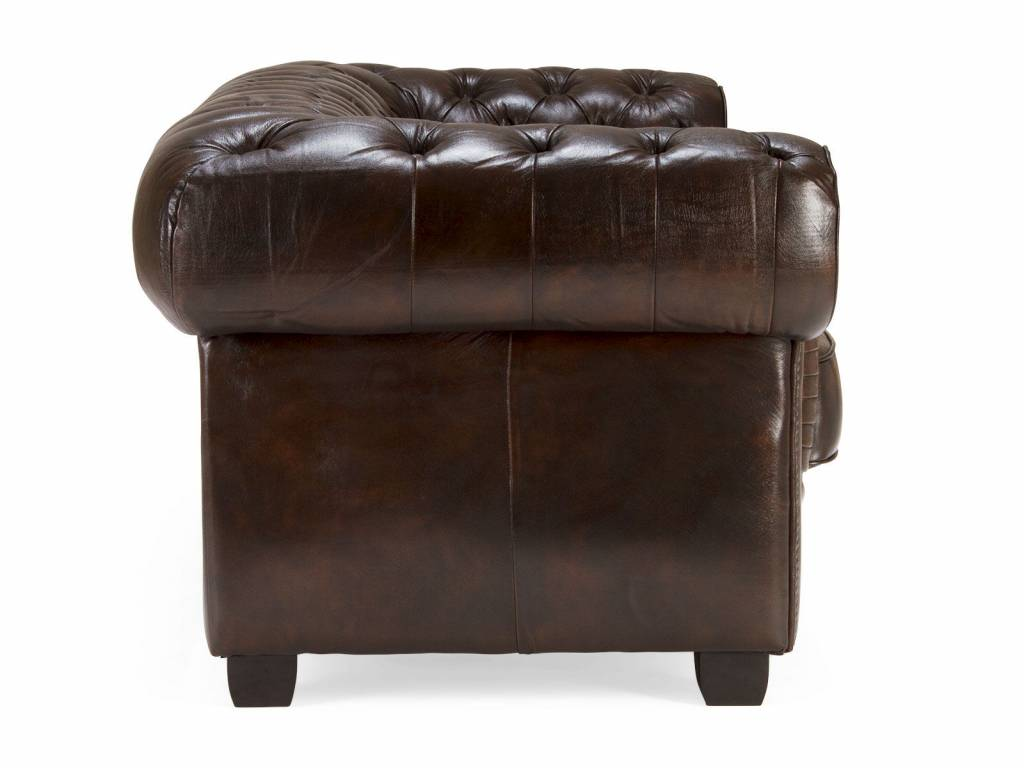 Chesterfield Sofa Leder Garnitur 3 2 1 Braun