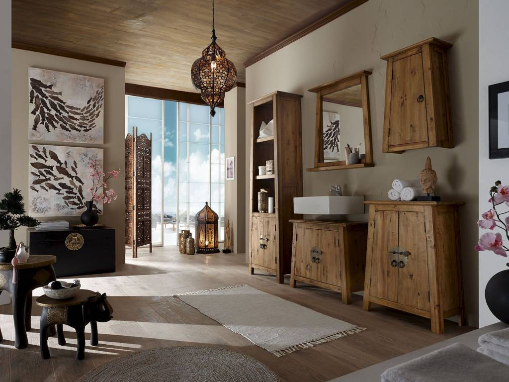 Badmöbel Set im reto Look aus Alt Holz