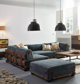 Eck Sofa im Industrie Design mit Hocker