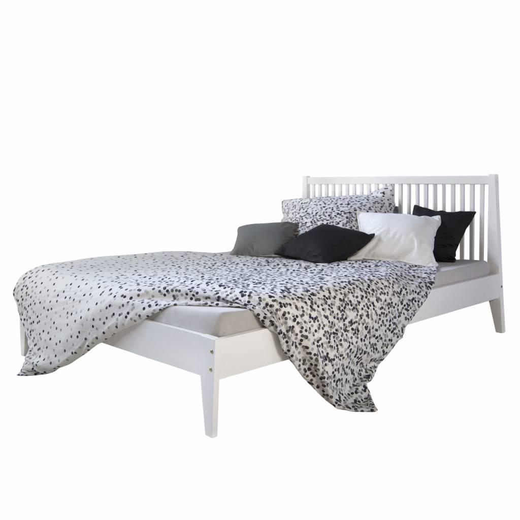Landhaus Massiv Holz Bett  140 cm Doppel Bett in weiß