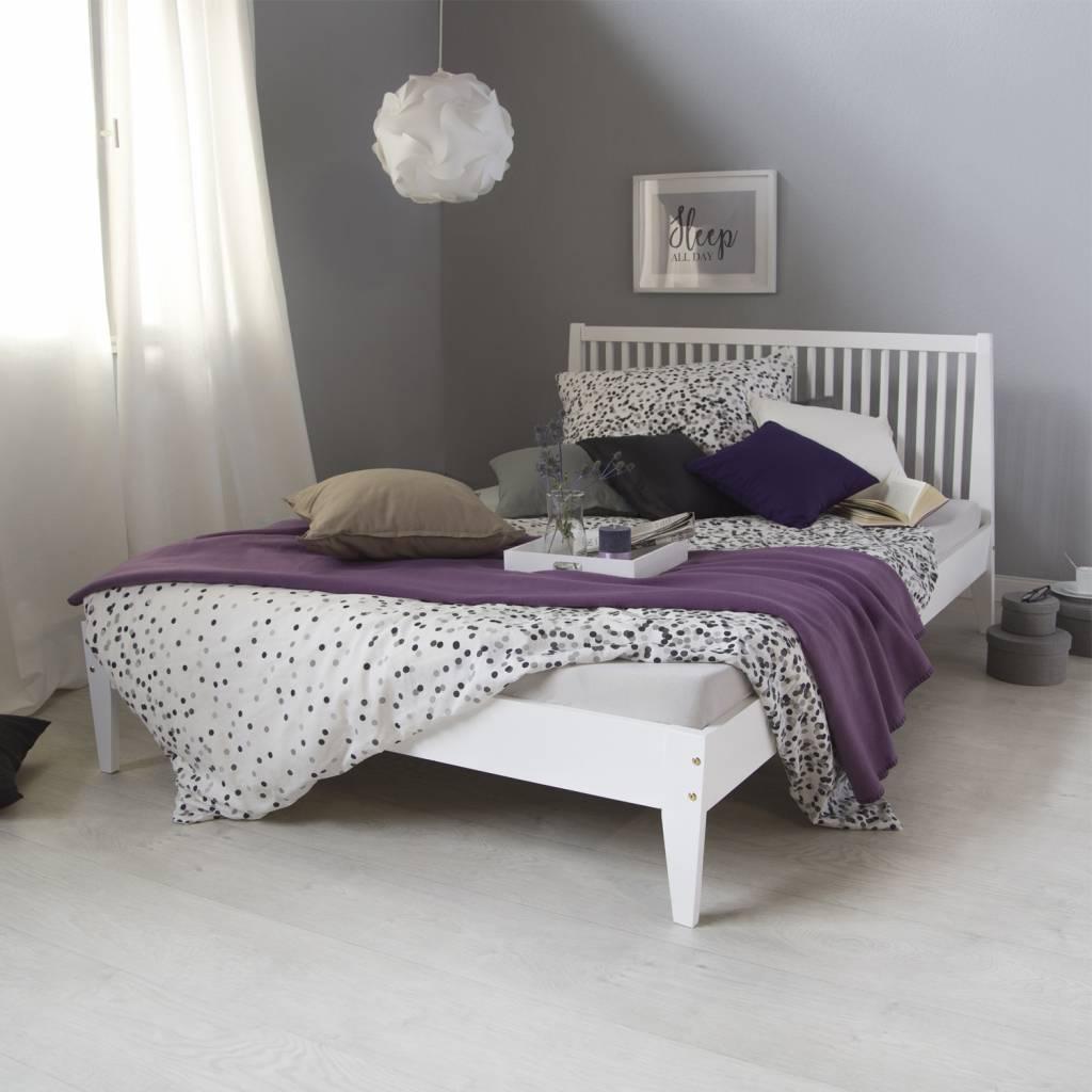 Landhaus Massiv Holz Bett weiss - Massivholzmöbel bei moebelshop68.de