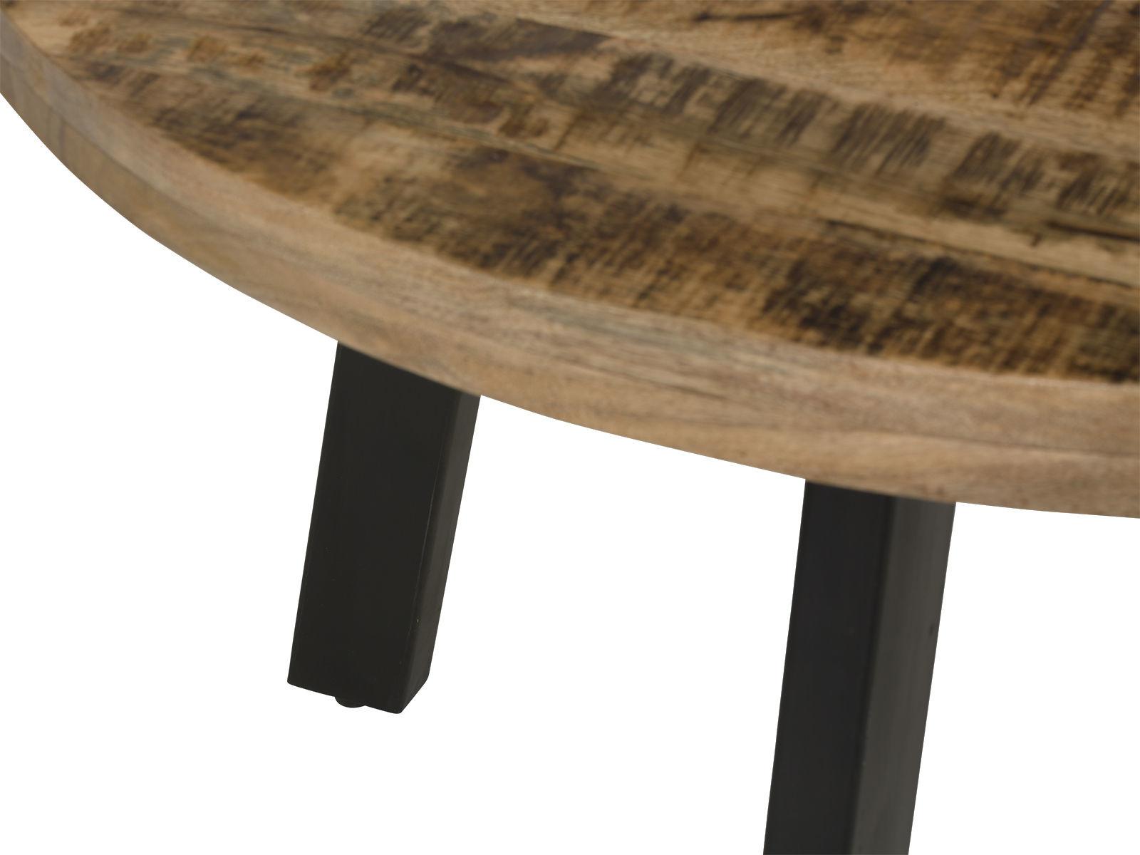 Tisch aus Massivholz rund und Eisen Industrial