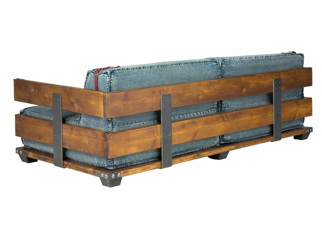 rustikales Sofa 2 Sitzer Holz / Jeans