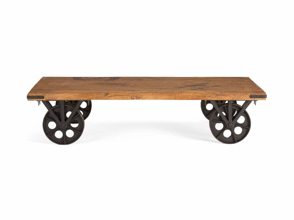 massiv Holz Tisch Industrie Design Couch Tisch