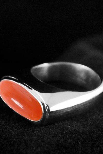 (As)ring GEM, zilver met Bloedkoraal
