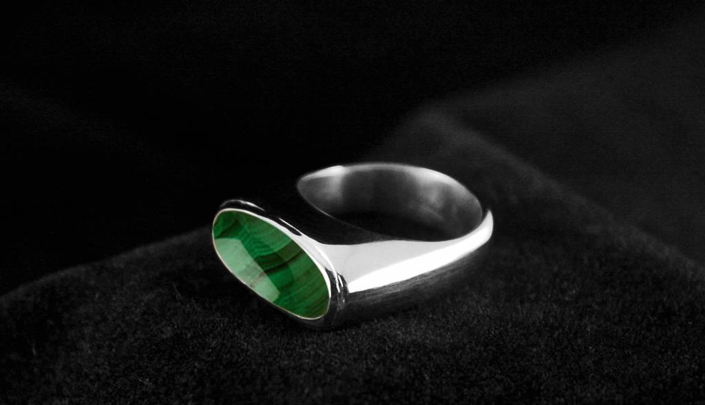 (As)ring GEM, zilver met Malachiet-2