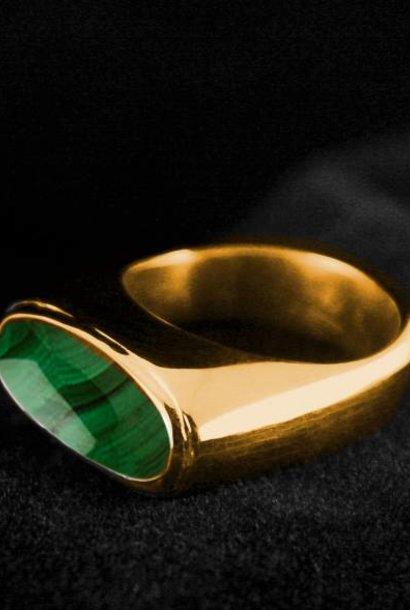 (As)ring GEM, goud met  Malachiet