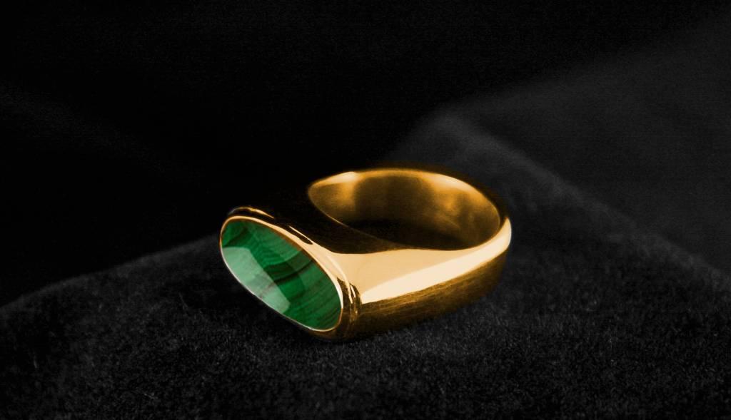 (As)ring GEM, goud met  Malachiet-1