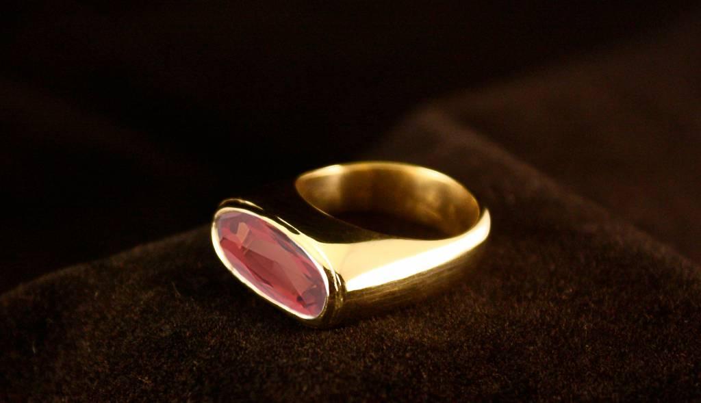 (As)ring GEM, goud met  Padparadscha Saffier-4