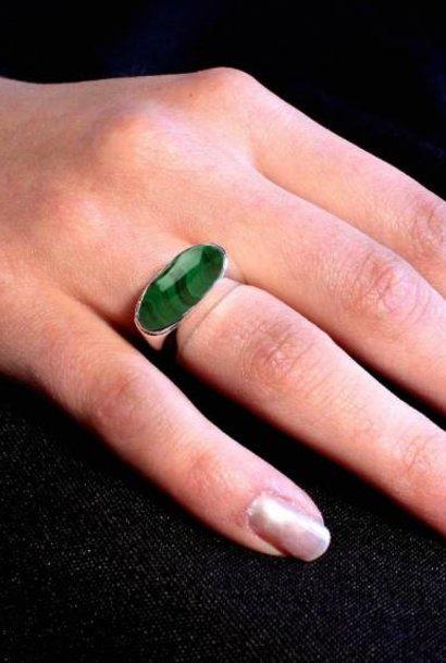 (As)ring GEM, zilver met Malachiet