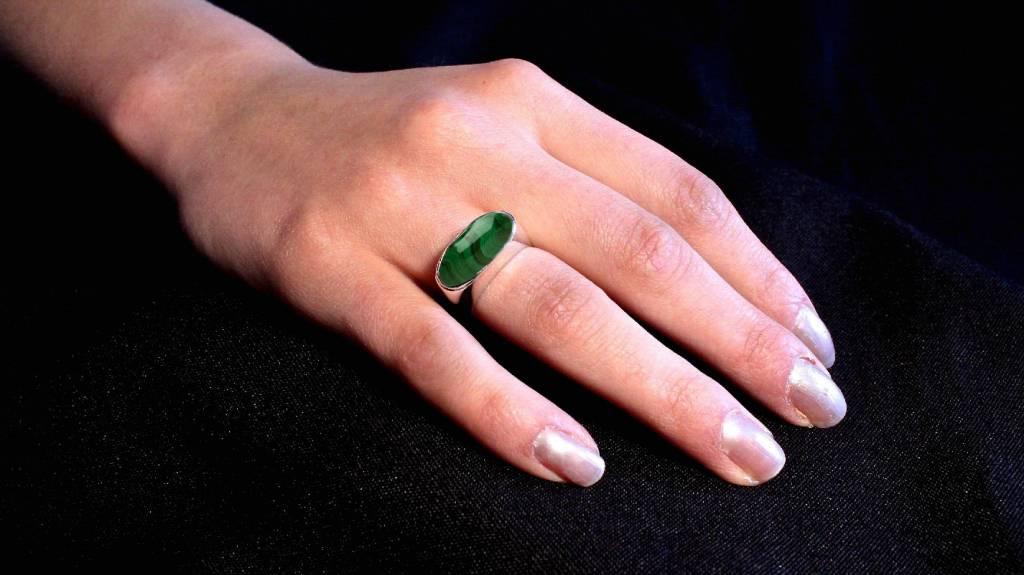 (As)ring GEM, goud met  Malachiet-3