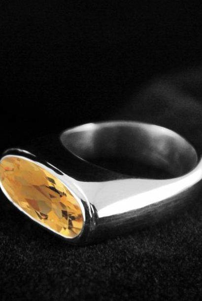(As)ring GEM, zilver met Citrien