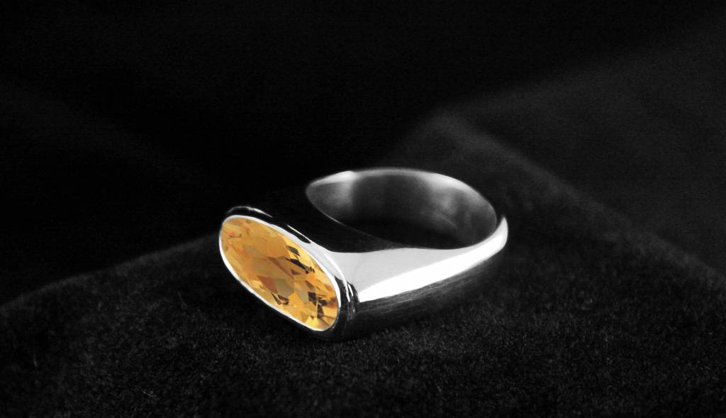 Zilveren (as)ring GEM - Citrien-1