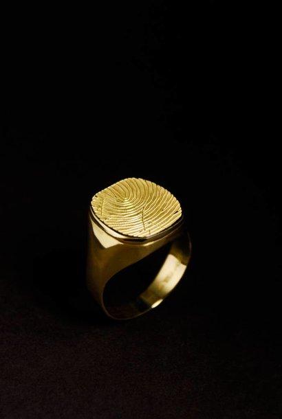 Gouden  herenring ALWAYS - vingerafdruk